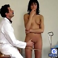 Stunning brunette is spanked and humiliated in pantyhoses in the medical room