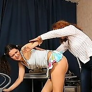 Drunk Redheaded mother comes in and beats her teen with belt