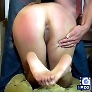 Teen babe spanked in the dormitory adn humiliated on all fours