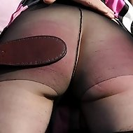 Sarah spanked over tights