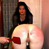 Severe bare ass paddling for 2 sorry girls - glowing red buttocks