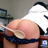 Michaela`s bare bottom takes a wooden spoon spanking in House-guest from Hell