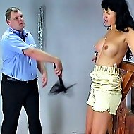 Brunette jailbird Jessica has a painful session with the wardens flogger